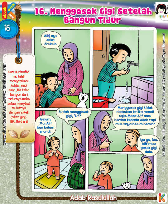 101 Komik Adab Rasulullah, Menggosok Gigi Setelah Bangun Tidur (16)