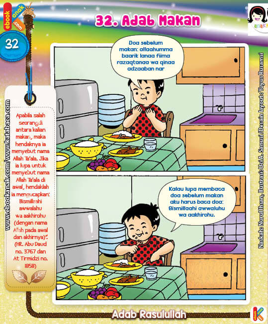 101 Komik Adab Rasulullah, Sebelum Makan Menyebut Nama Allah (32)