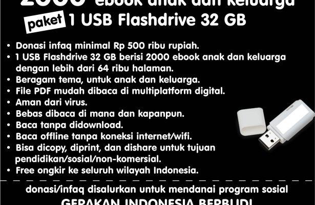 Paket 2000 Ebook Pustaka Digital 1 USB Flashdrive 32 GB