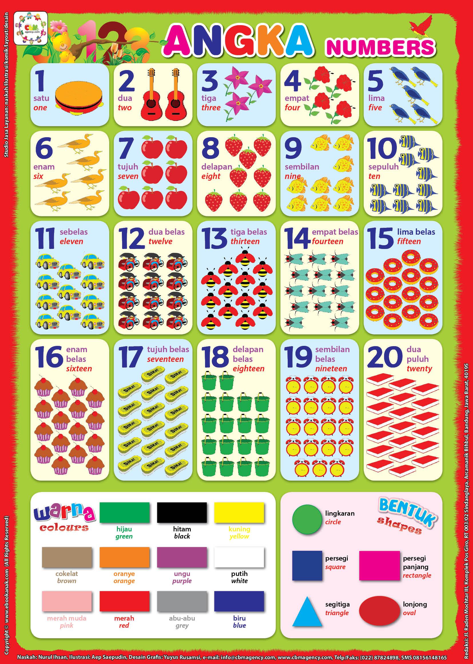 Poster Pendidikan Angka, Warna, dan Bentuk Bilingual