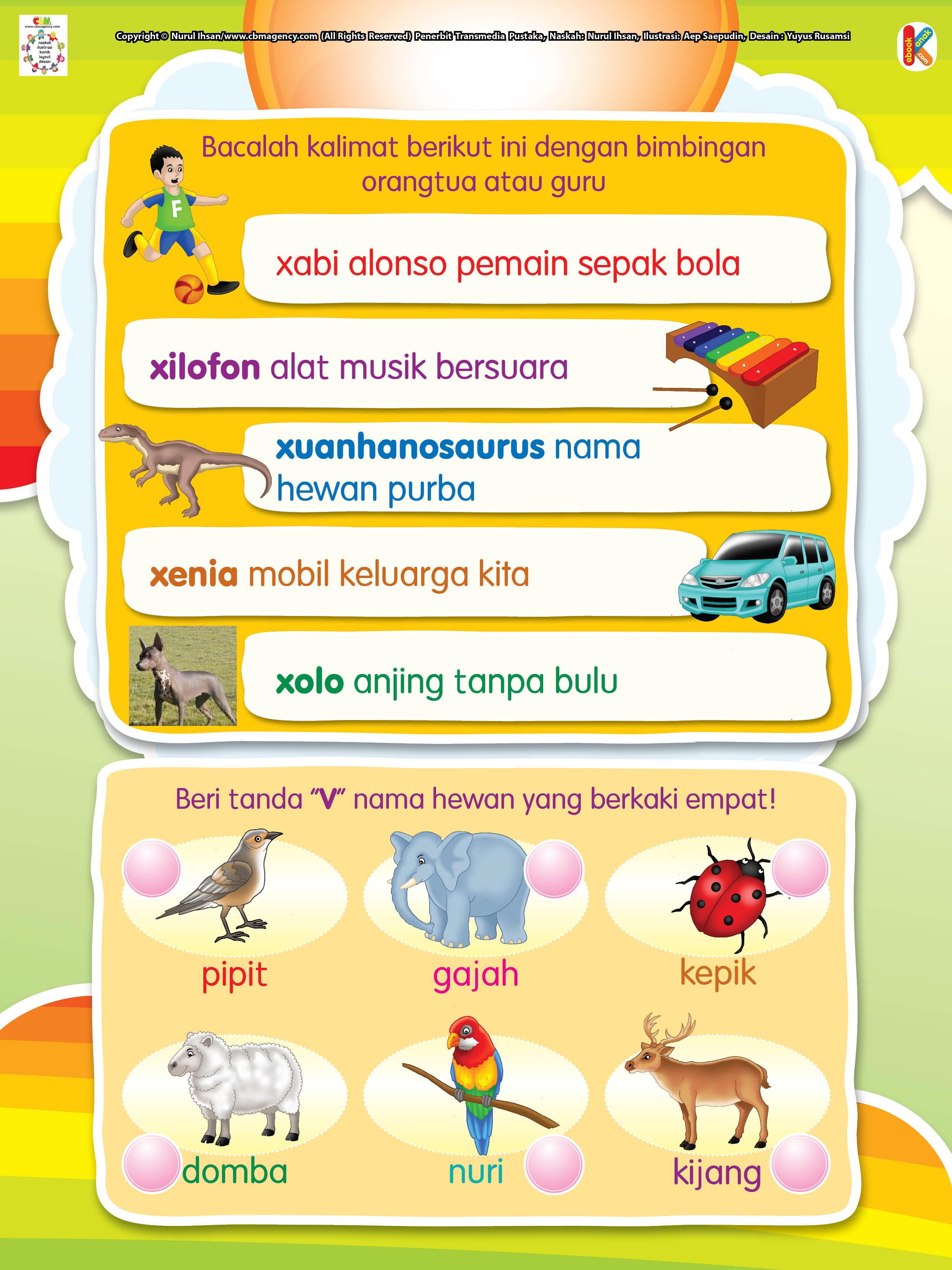 membaca kata awalan X dan menandai hewan berkaki 4