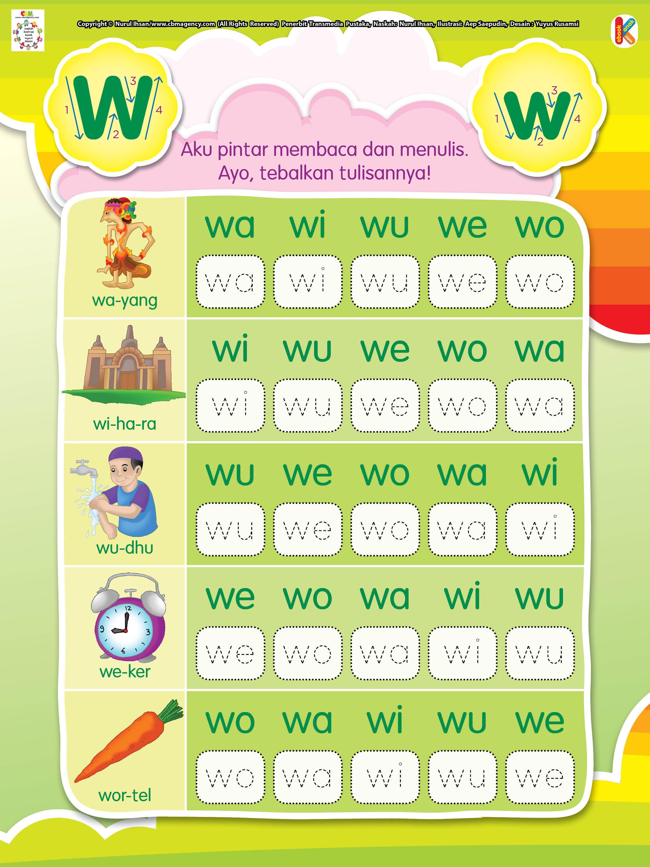 Worksheets Worksheet-belajar-menulis membaca dan menulis huruf awalan w ebook anak satu suku kata berawalan w