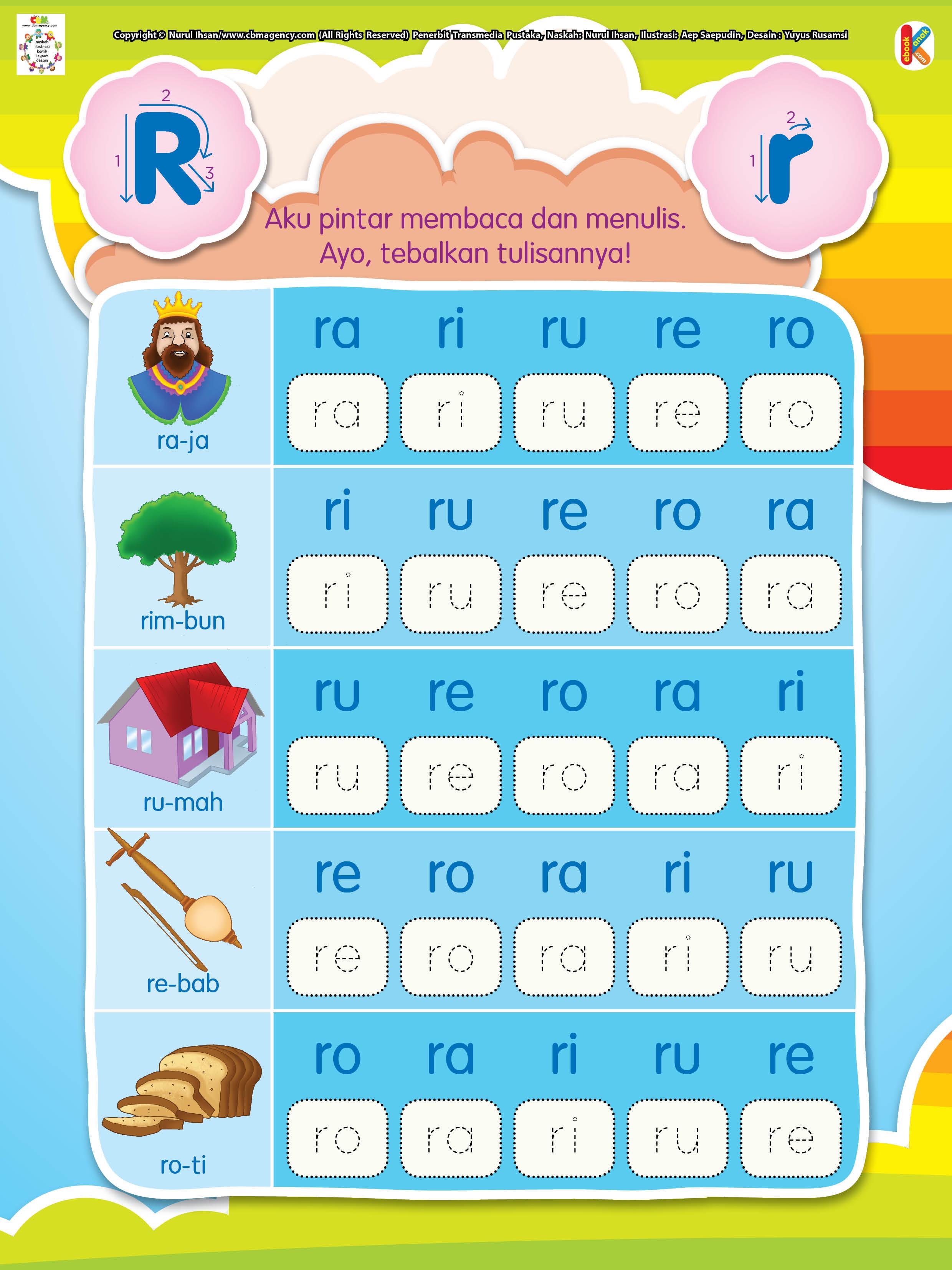 Worksheets Worksheet-belajar-membaca membaca dan menulis huruf awalan r ebook anak r