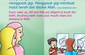 Menggosok gigi membuat mulut bersih dan disukai Allah.