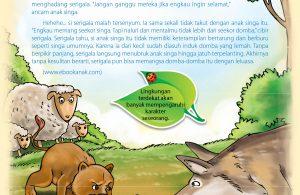 Tiba-tiba datang seekor serigala, serigala sudah bersiap-siap akan menerkam ibu domba dan kedua anak domba.