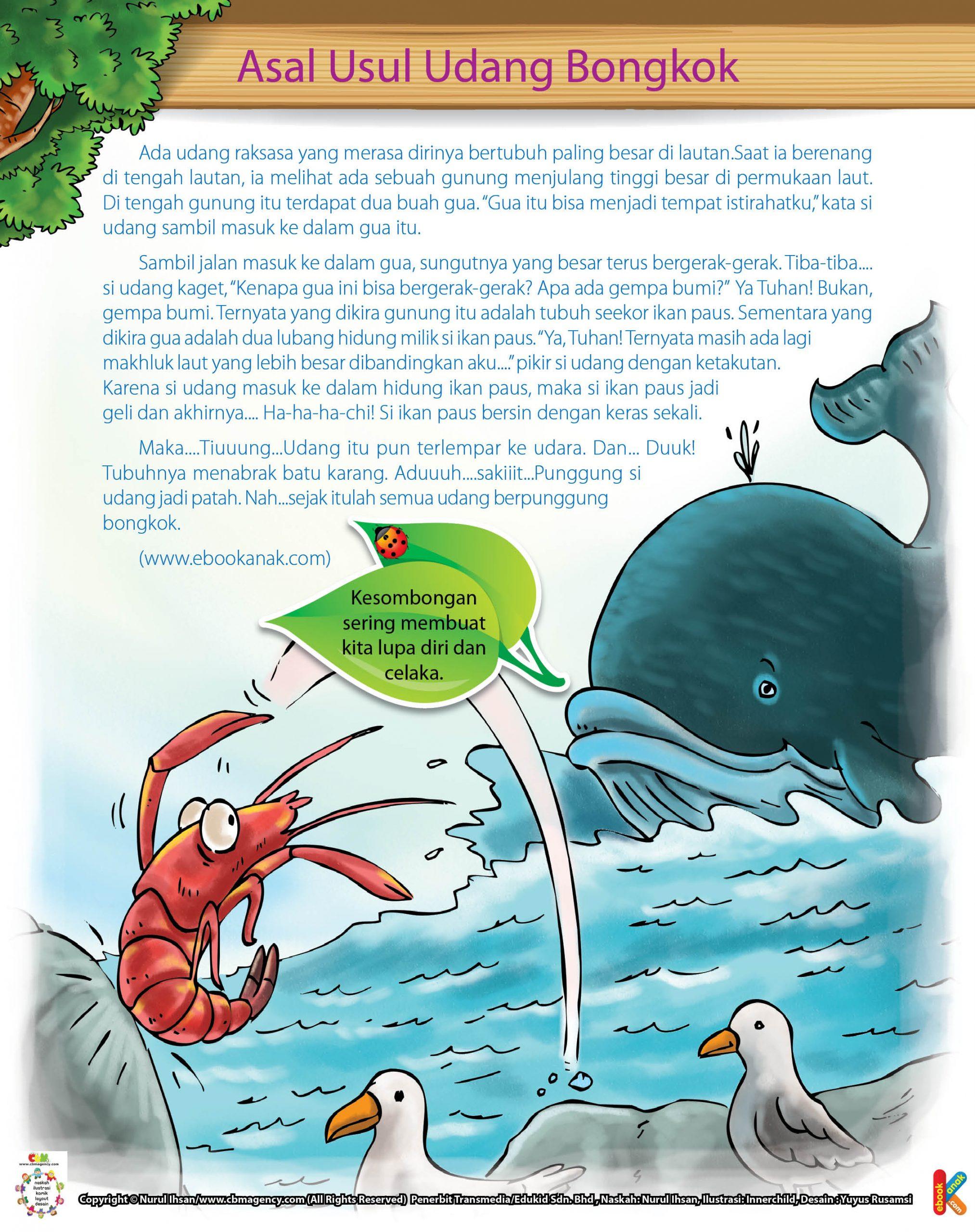 Saat udang raksasa berenang di tengah lautan, ia melihat ada sebuah gunung menjulang tinggi besar dan gua di permukaan laut.