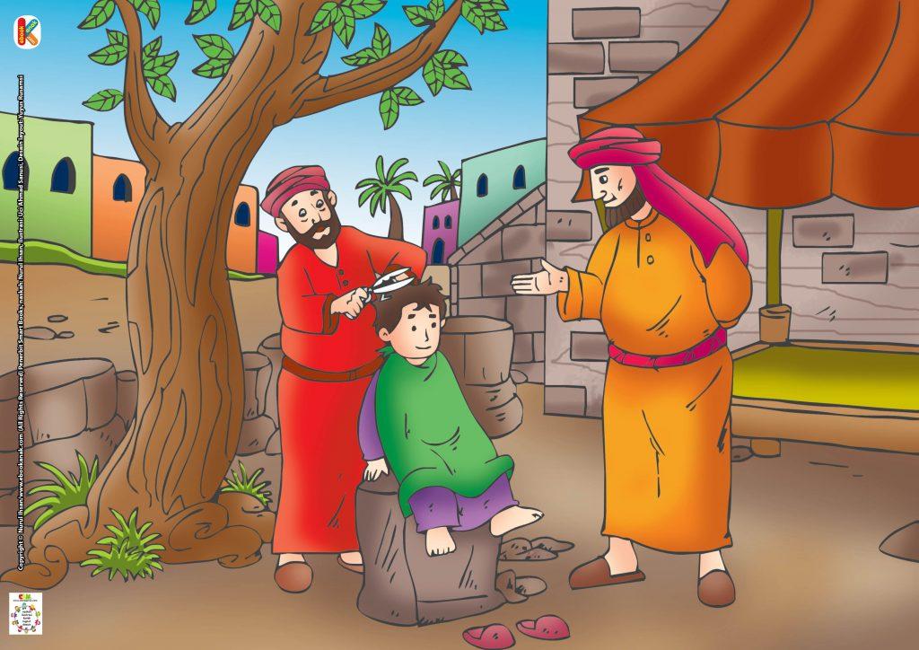 Khalifah Umar bin Khattab kemudian membawa putranya ke tukang cukur.