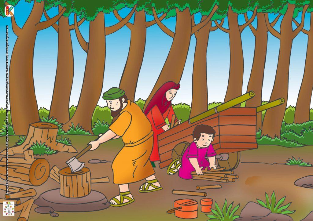 Selama 15 hari,laki-laki miskin itu mencari kayu bakar dan kemudian menjualnya.