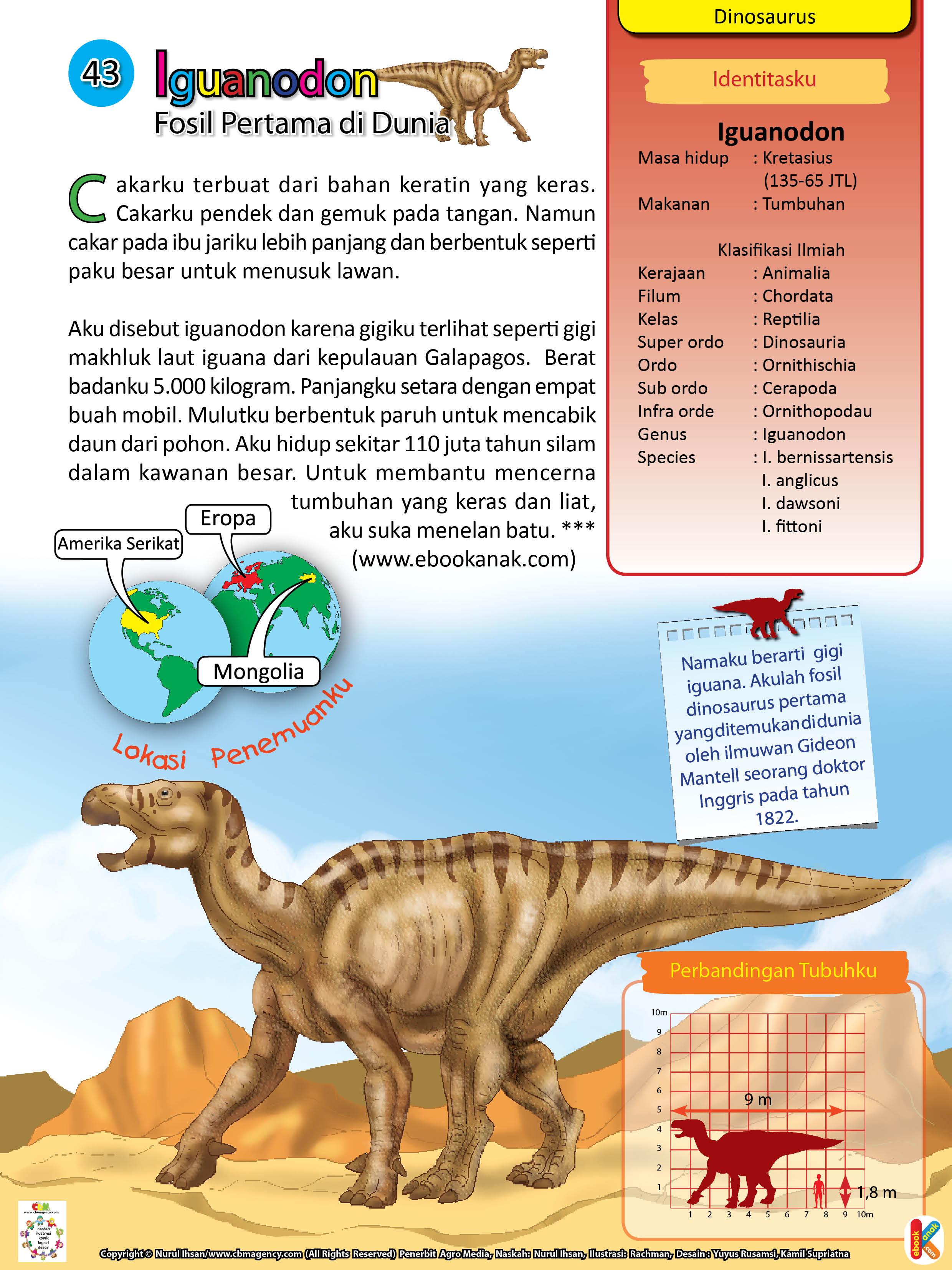Cakar Iguanodon pendek dan gemuk pada tangan.