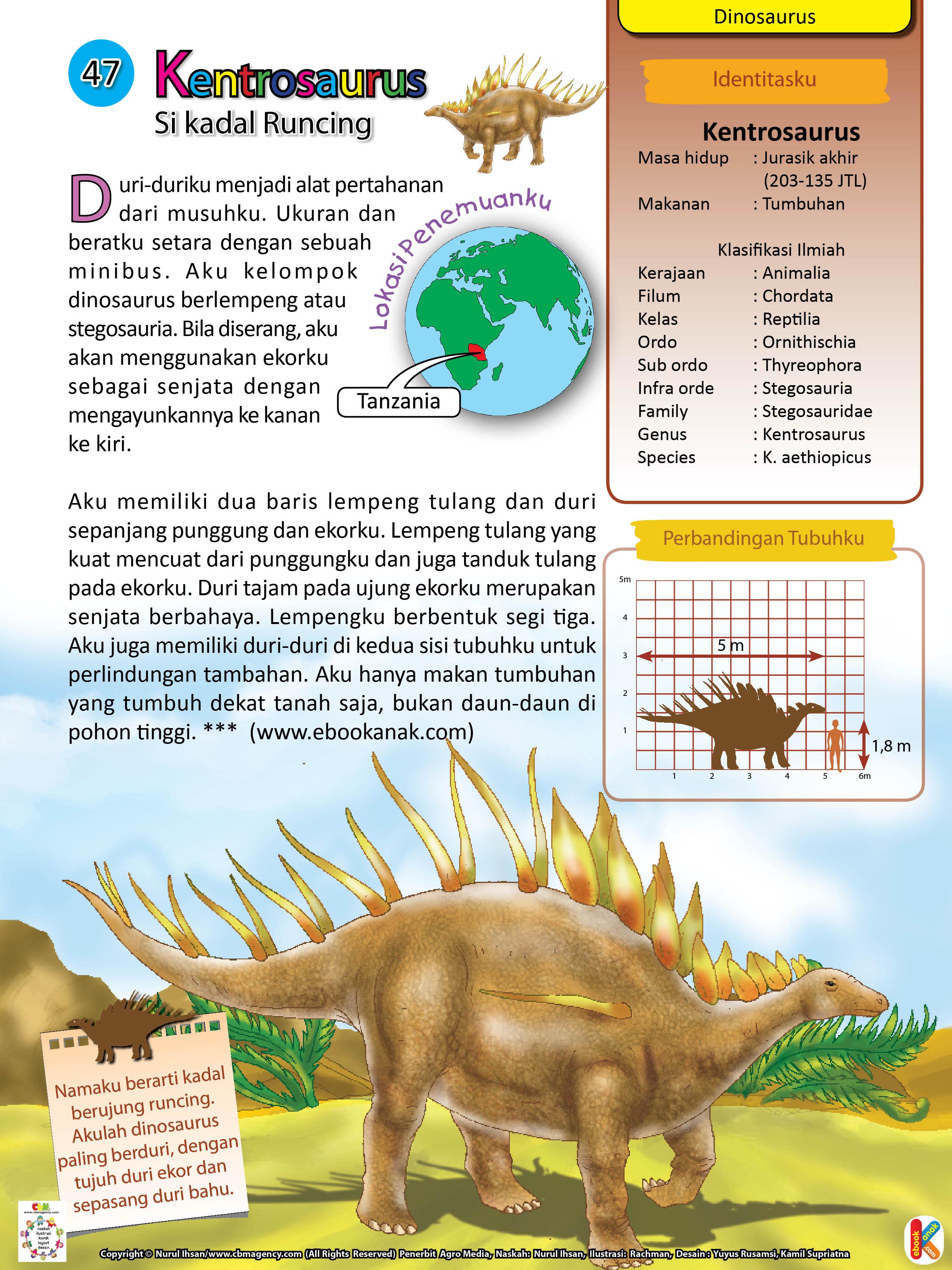 Ukuran dan berat Kentrosaurus setara dengan sebuah minibus.