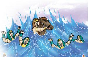 Laut Merah terbelah dua menjadi jalan tanah yang bisa dilalui Nabi Musa as. dan rombongannya.