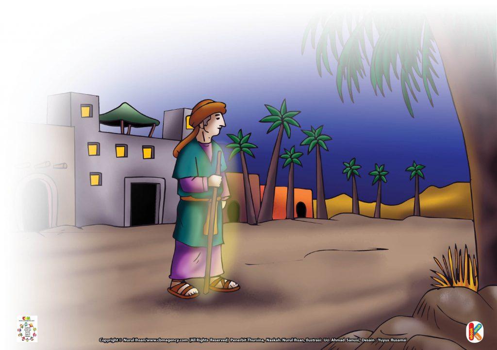 Download Gambar Gratis Asmaul Husna for Kids 93 an-An-Nuur Ibnu Abbas dan Tongkat Bisa Bercahaya