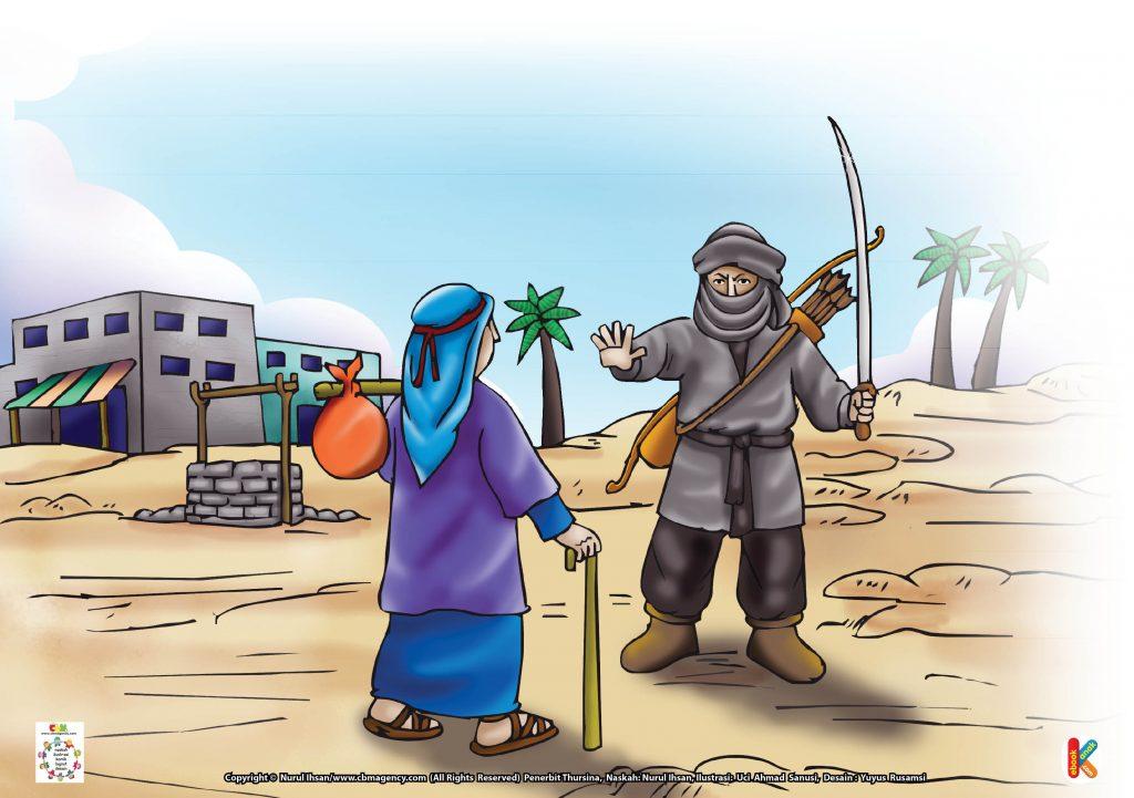 Download Gambar Gratis Asmaul Husna for Kids 94 Al-Haadii Perampok yang Minta Dibacakan Ayat Al-Qur'an