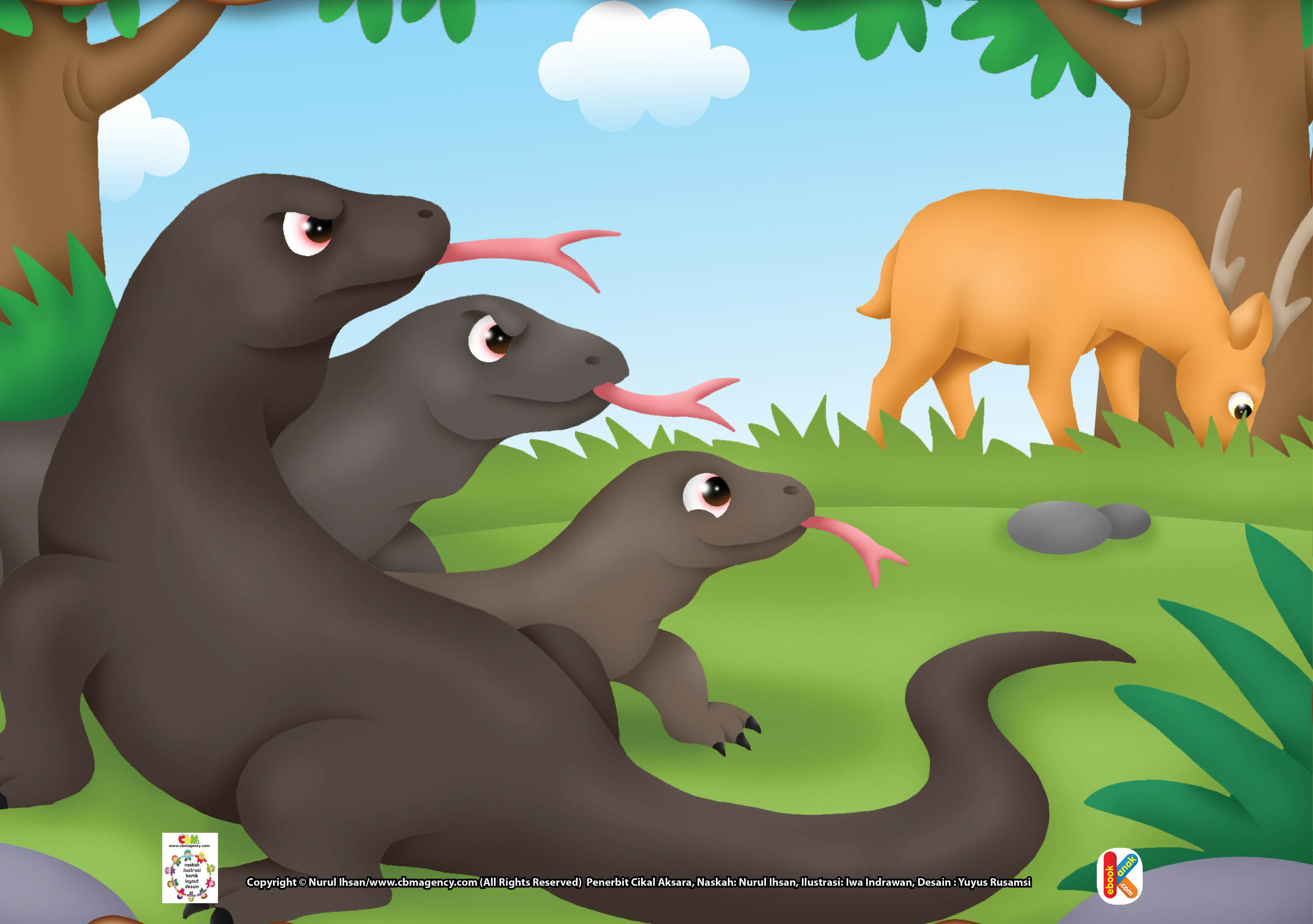 Komodo memiliki lidah yang panjang dan bercabang dua.
