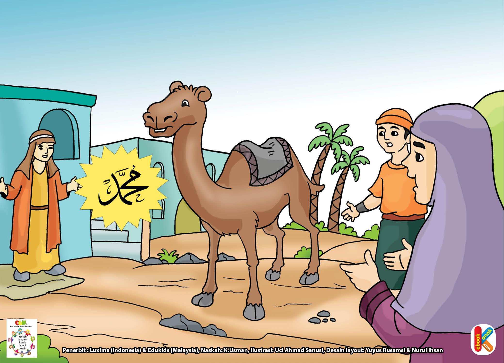 Saat itu, unta beliau yang bernama Al-Quswah tiba di depan rumah Abu Ayyub Al-Anshari.