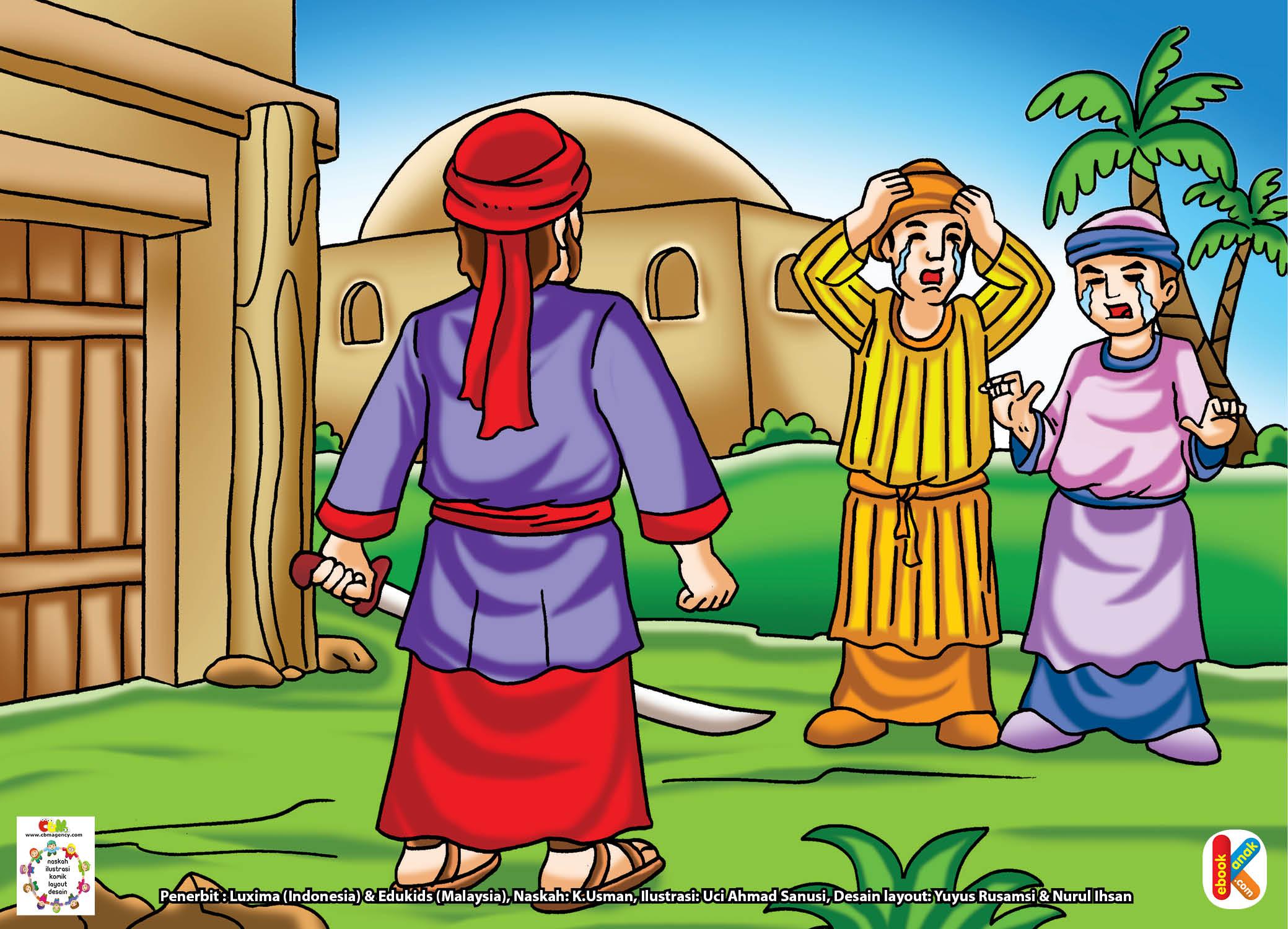 Umar bin Khatab berdiri tegap sambil menancapkan pedang di depannya.