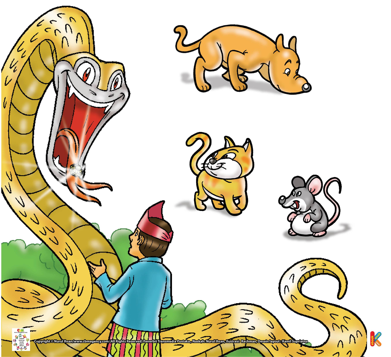 Tiba-tiba, datang seekor ular besar mendekatinya.