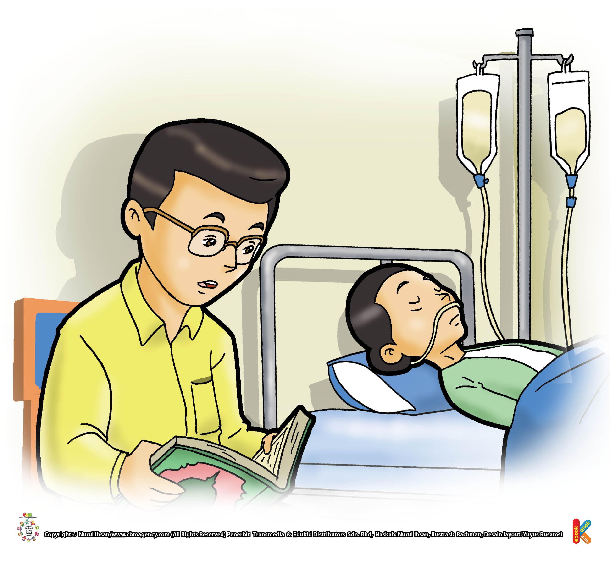 mendoakan orang sakit dengan membaca al quran.