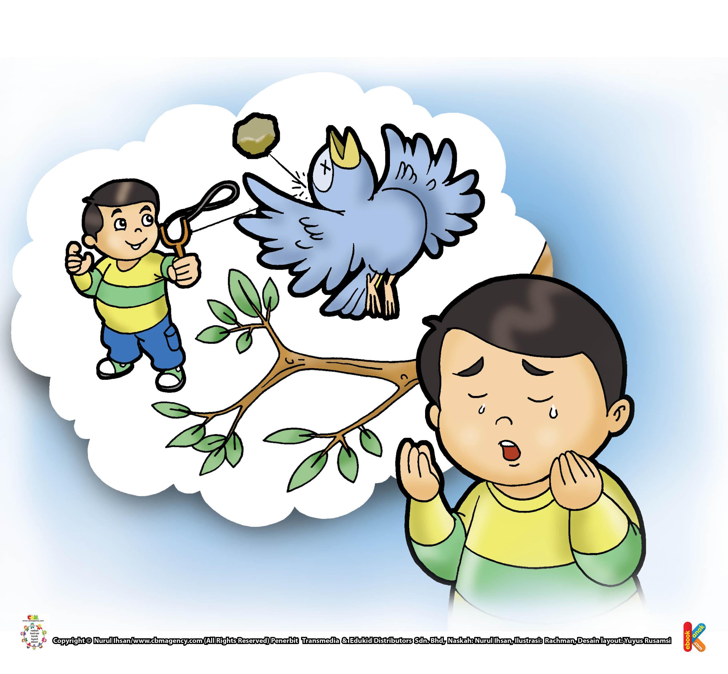 Husna tampak menyesal, karena ia telah mengetapel seekor burung di atas pohon.