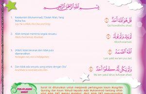 Melalui Malaikat Jibril, Allah SWT menyampaikan surat Al-Ikhlas dari ayat 1-4 kepada Nabi Muhammad.