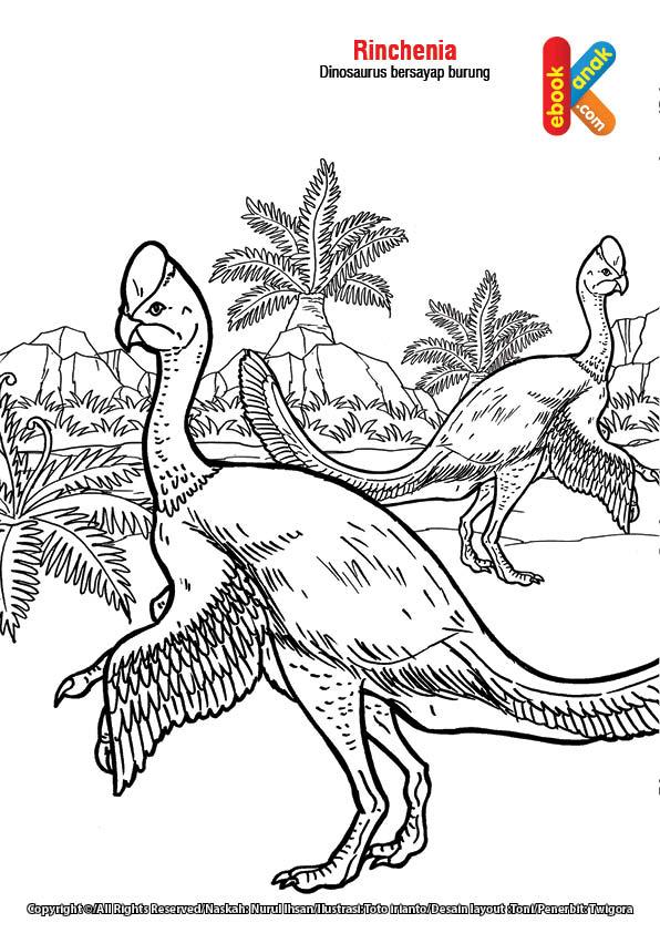 mewarnai gambar dinosaurus Rinchenia