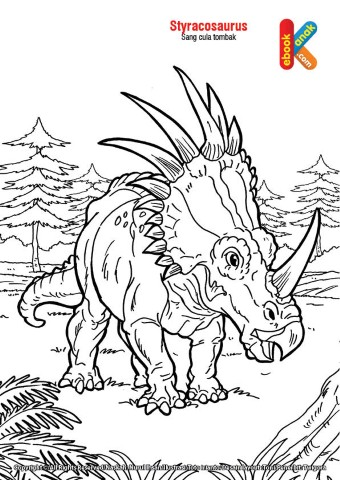 Mewarnai gambar dinosaurus Styracosaurus,