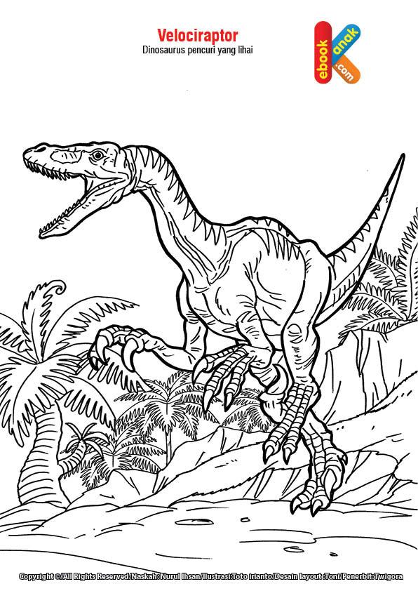 Mewarnai gambar Velociraptor, dinosaurus pencuri yang lihai.