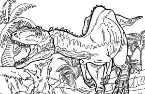 Mewarnai gambar dinosaurus Yangchuanosaurus, pemburu dinosaurus besar.