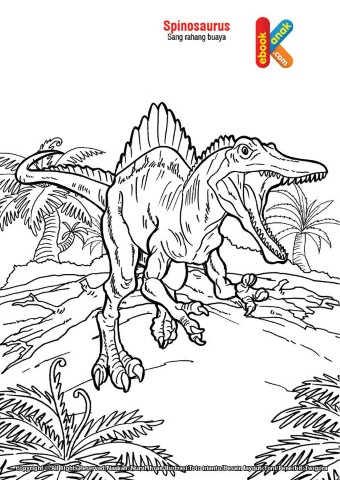 Mewarnai gambar hewan purba Spinosaurus,