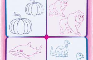 Warnai gambar yang lebih besar dan warnai gambar yang lebih kecil.