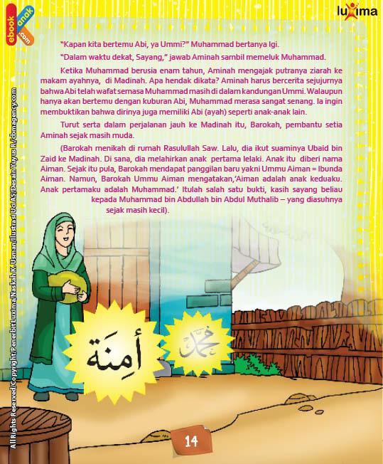 Ketika Muhammad berusia enam tahun, Aminah mengajak Muhammad putranya ziarah ke makam ayahnya, di Madinah