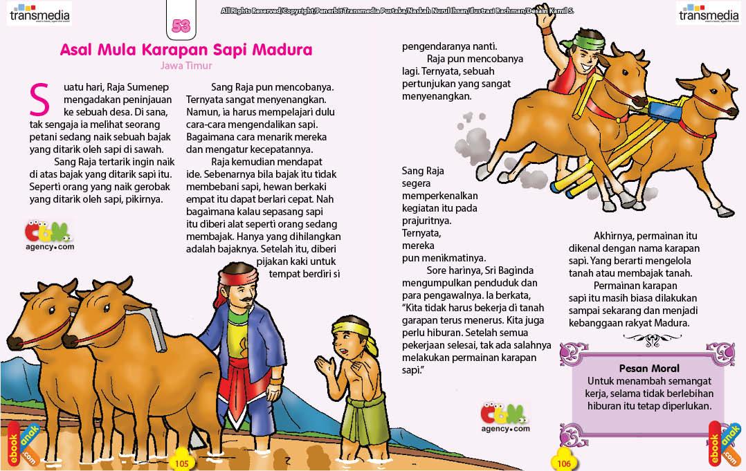 Dongeng Asal Usul Permainan Karapan Sapi Madura Ebook Anak