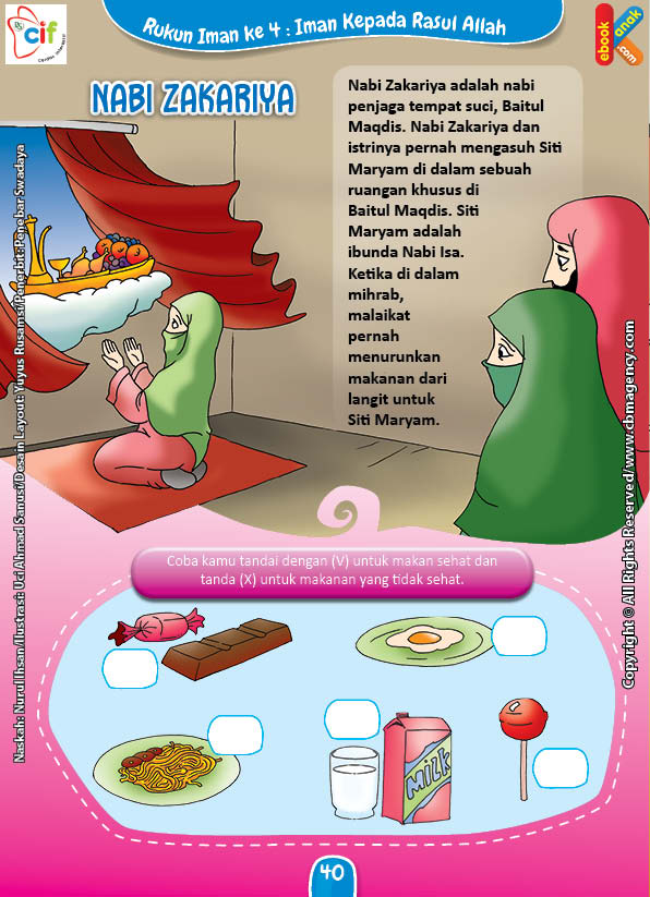 Download Gratis Worksheet Nabi Zakariya