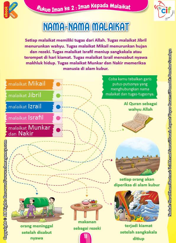 Download Gratis Worksheet Nama Nama Dan Tugas Para Malaikat Ebook Anak