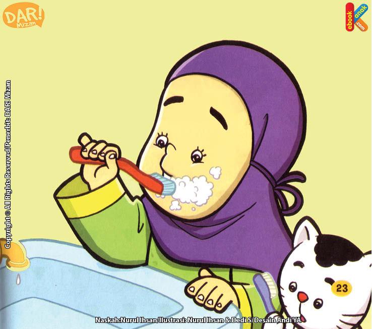 Inilah Cara Hana Membersihkan Mulut dan Giginya.