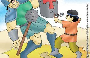 Nabi Daud Mengalahkan Jalut Yang Perkasa Dengan Ketapel