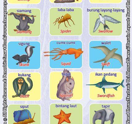 Kamus Visual Binatang Bergambar Dua Bahasa: Indonesia Inggris (10)