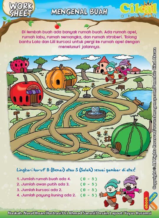 Worksheet Paud Tk Mengenal Buah Ebook Anak