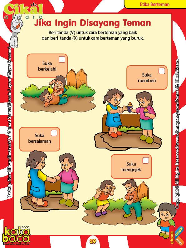 Worksheet PAUD TK A-B Etika Berteman