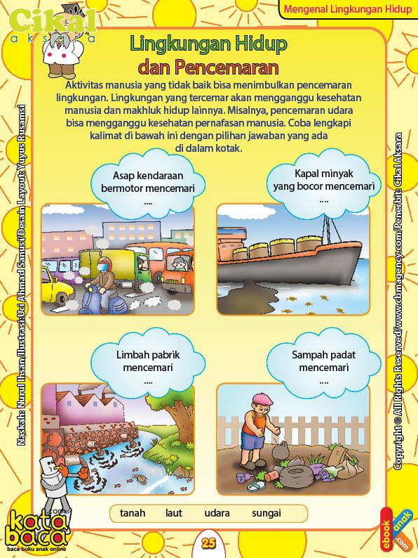 Worksheet PAUD TK A-B Lingkungan Hidup dan Pencemaran