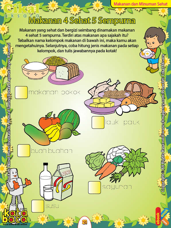 Worksheet Paud Tk A B Makanan Dan Minuman Sehat Ebook Anak