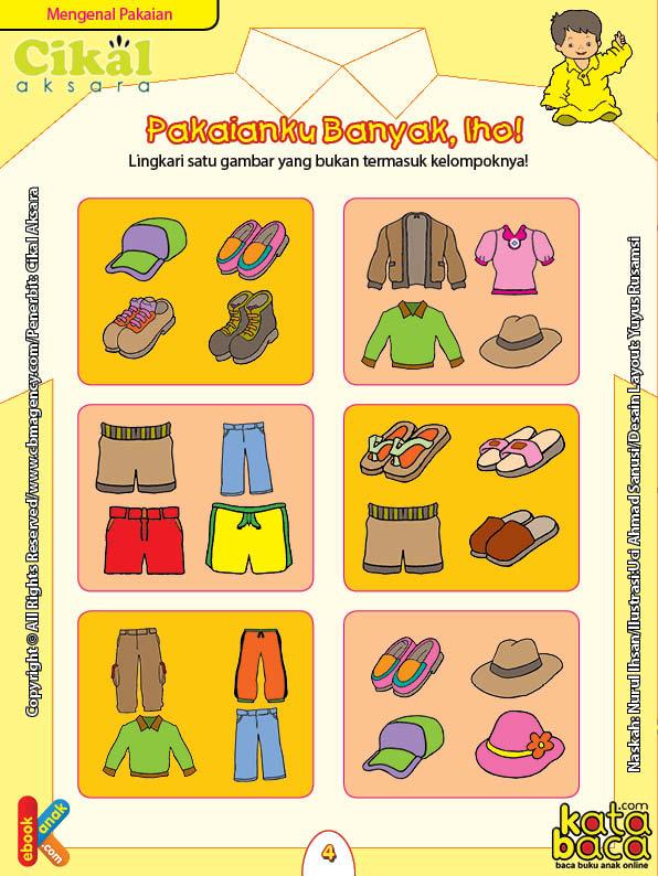Worksheet PAUD TK A-B Mengenal Pakaian