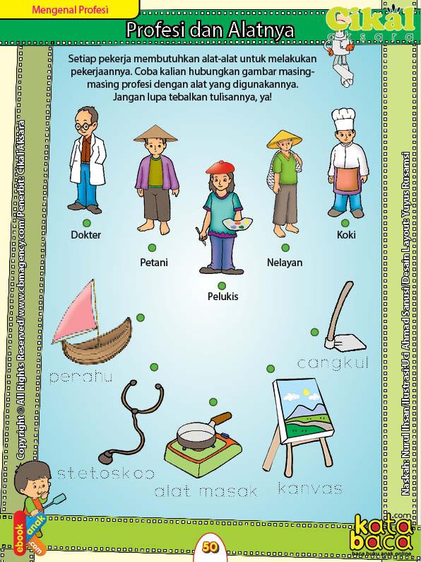 Worksheet PAUD TK A-B Mengenal Profesi dan Alatnya