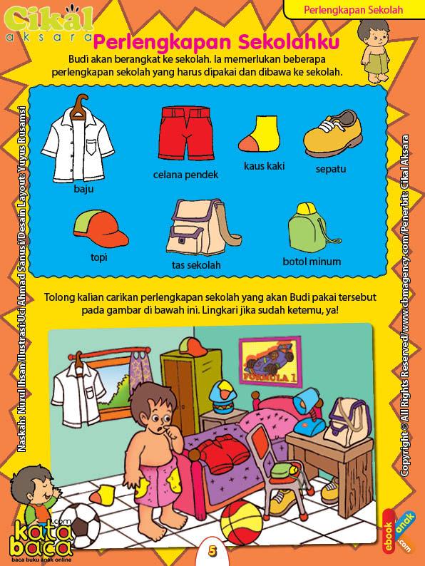 Worksheet PAUD TK A-B Perlengkapan Sekolah