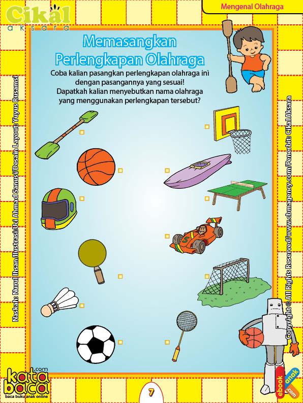 Worksheet PAUD TK Memasangkan Perlengkapan Olahraga