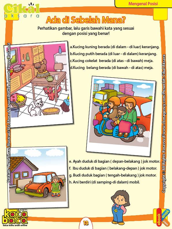 Worksheet PAUD TK Mengenal Posisi