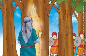 Pasukan Romawi Memotong Pohon Tempat Persembunyian Nabi Zakaria