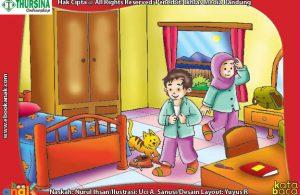 ilustrasi adab dan doa anak muslim ketika membuka pakaian