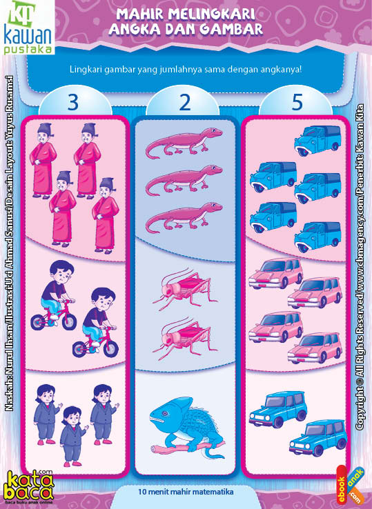 Worksheet PAUD TK A-B Mahir Melingkari Angka dan Gambar (3)