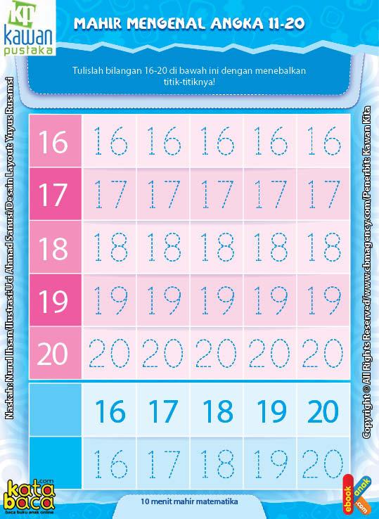 Worksheet PAUD TK A-B Mahir Mengenal Angka 11-20 (2)